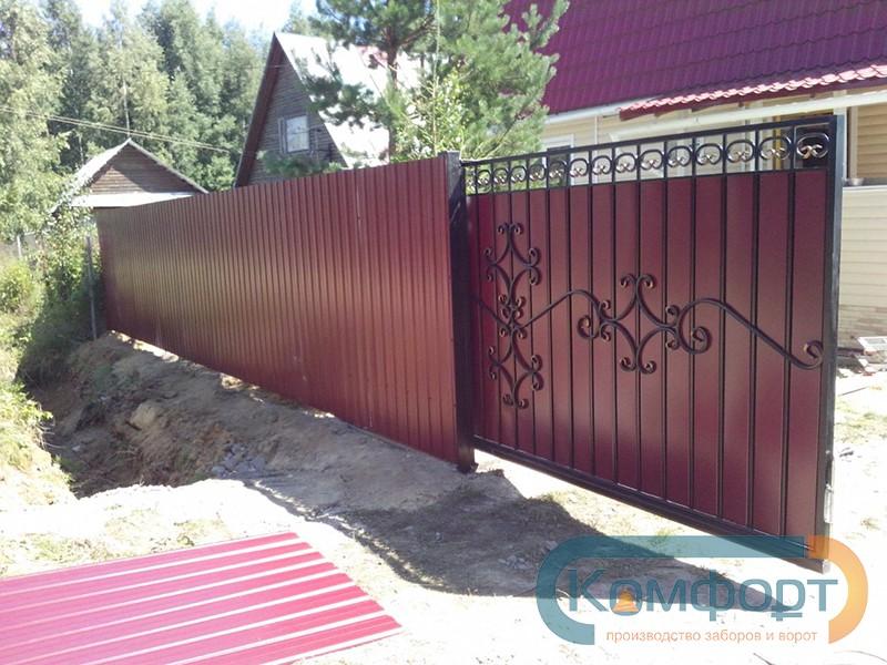 Откатные ворота цены 4м штакетный забор цена