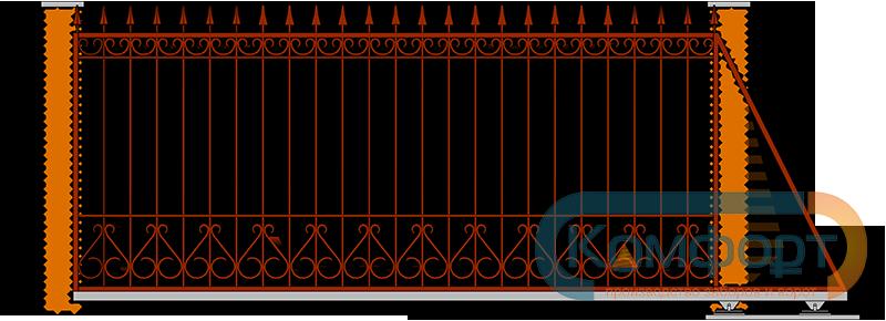 Фото откатных ворот с элементами ковки чертежи