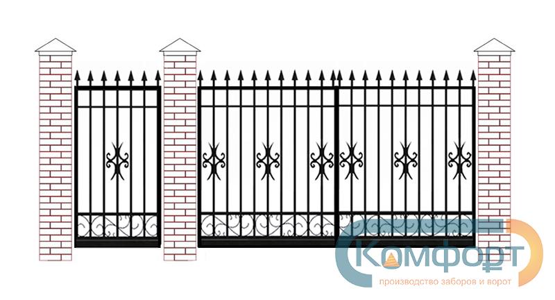 Ворота металлические с калиткой общий вид ворота фото ою
